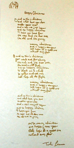 john lennon happy christmas lyric for sale on Artplode