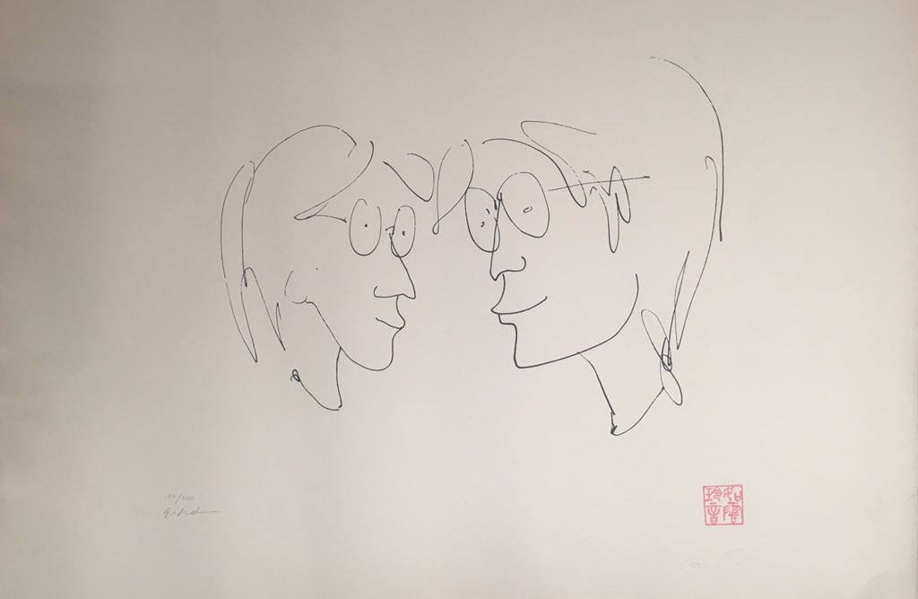 "I'm  getting better."" This sketch shows John looking at but within himself. With a trace of a smile on his  face, he is pleased with life.  Published by Bag One Arts Inc in 1992 Serigraph on stonehenge paper Edition size 300 Paper size 38 x 57cm Signed in pencil by Yoko Ono  US$4000"